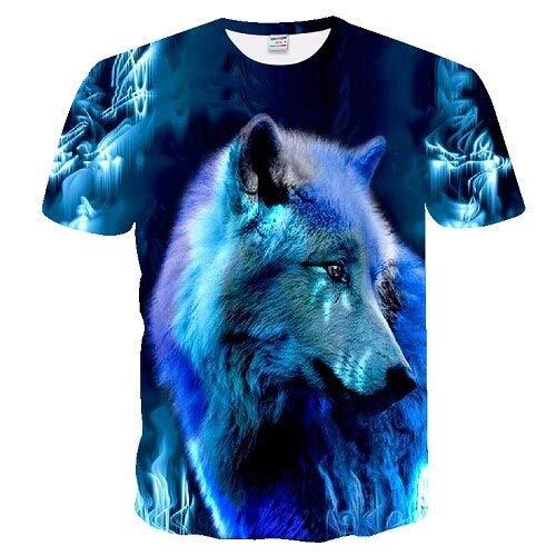 ShSnnwrl Manga Corta Camiseta Wolf Print 3D Series Camiseta Hombre Camiseta Verano Manga Corta 4XL Txuo-244