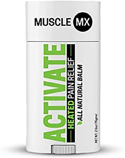 Muscle MX Activate - Heated Pain Relief Balm - All Natural w/Caffeine & Menthol - Great Scent & Non-Staining, Improves Cir...