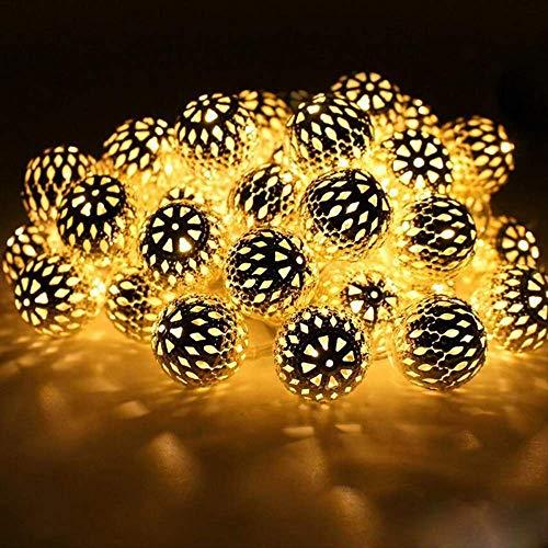 Cadena de luz LED, 3 m, 10 ledes, cadena de metal, luz impermeable, para exterior, jardín, iluminación romántica, decoración para Navidad, hogar, fiesta, boda