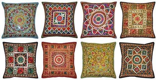 Labhanshi - 10 fundas de cojín bordadas de Sari Patchwork, 16 x 16 fundas de almohada indias étnicas, cojín hecho a mano, cojín de patchwork, almohada de parche Sari
