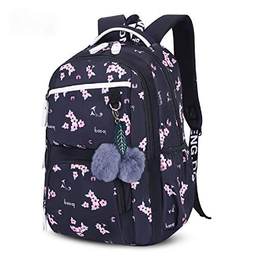 Elonglin Sac à Dos Scolaire College Lycee Fille Ado Cartable Fashion Daypack Portable Voyage Loisir Sac Toile Imperméable Durable (Noir Fleur)