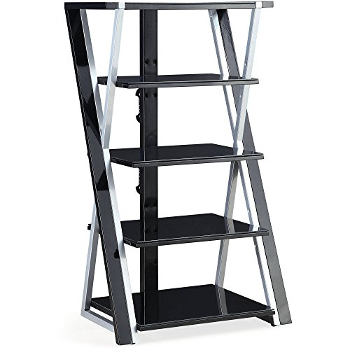 "Whalen 48"" Black Audio Video Tower, Tempered Glass Shelves"