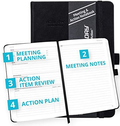 Action Day Meeting-Notizbuch, Design macht es Ihnen leicht, effektive Meetings zu führen, Meetings zu machen und Meetings zu machen, Tagebuch, Agenda, Hardcover, Tasche, dickes Papier (7 x 9, schwarz)
