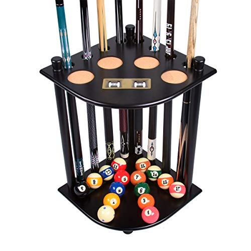 XYNH Billiard Cue Rack Wooden Pool Stick Holder Organizers Snooker Pool Cue Ball Drink Rest Table Stick Holder Can Hold 16 Billiard Cues And Billiard Accessories