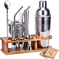 AHNR 14-Piece Stainless Steel Bar Tool Set with Stylish Bamboo Stand
