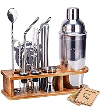 Bartender Kit Cocktail Shaker Set AHNR 14-Piece Stainless Steel Bar Tool Set with Stylish Bamboo Stand Bartending Kit Martini Cocktail Shaker Set for Home,Bars,Traveling and Outdoor Parties