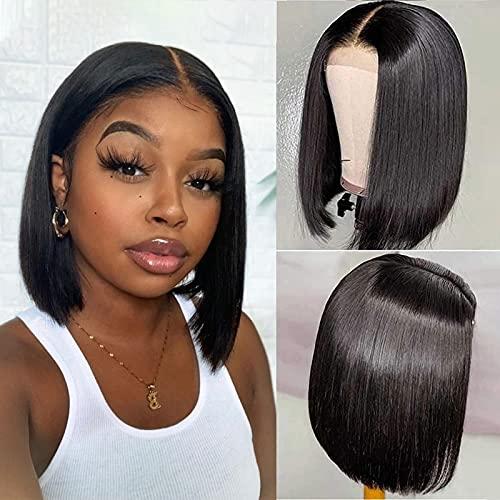 Short Bob Wigs Human Hair T Part 13x6x1 Lace Front Bob Wigs Straight Brazilian Virgin Human Hair Transparent Lace Wigs Natural Black 8 Inch