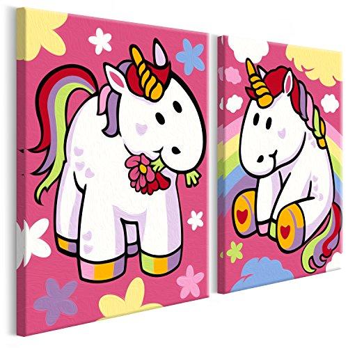 murando Malen nach Zahlen für Kinder Junior 2 Motive Bilder Einhorn 33x23 cm Malset mit Rahmen Komplettset Malvorlage DIY Geschenk n-A-0148-d-r