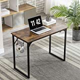 Home Office Desk, 39.4' Computer Desk Small Writing Desk Modern Simple Style Desk Sturdy Work Table for Home Office with Black Metal Frame