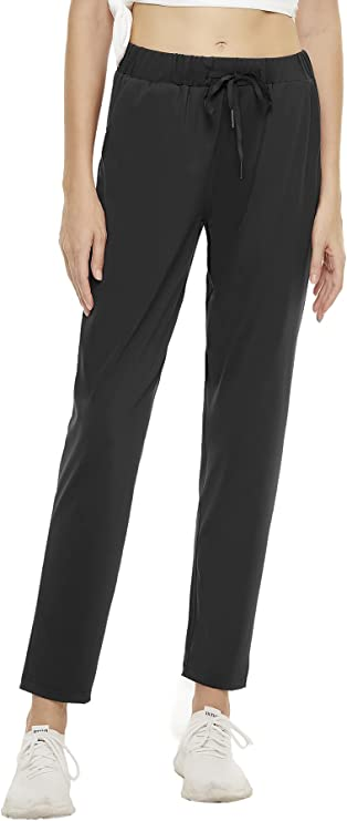 Xuvozta Womens 7/8 Joggers Pants 4-Way Stretch Drawstring Running Pants with Pocket