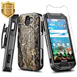 NageBee DuraForce PRO 2 Case with [Tempered Glass Screen Protector], Ultra Slim Belt Clip Holster Combo Shell Kickstand Shockproof Case for Kyocera Duraforce Pro 2 (E6900 E6910 E6920) -Camo