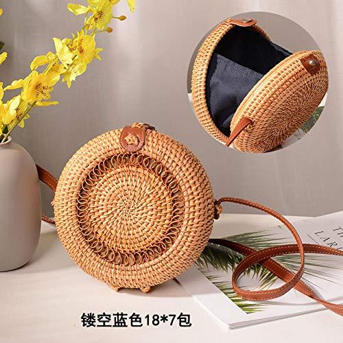 Yanxinenjoy Bowknot handgewebte Diagonal-Tasche, Strand-Rattan-Tasche, runde Minitasche, Bambusbindung-Hohles kleines rundes Blau