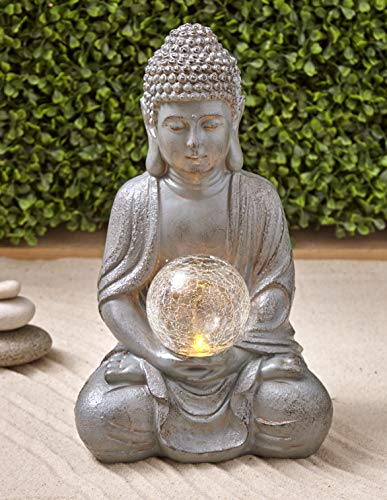 The Lakeside Collection Serenity Solar Sitting Buddha Garden Statue - Lighted Landscape Accent