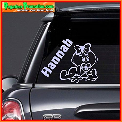 """Hochwertiger Namens Aufkleber \"""" Hannah \"""" Autoaufkleber Name Aufkleber Wandtattoo Aufkleber für Glas,Lack,Tür und alle glatten Flächen, viele Farben zur Auswahl,Auto Sticker Baby an Bord, Kindername,Namensaufkleber"""