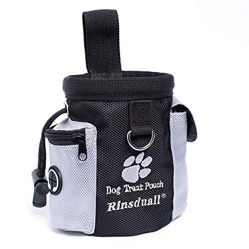 Rinsduall Futtertasche für Hunde|Leckerlies Leckerlitasche für Hunde|Futterbeutel Dog Treat Pouch Schwarz & Grau Leckerlibeutel Snack Bag mit Clip & Keine Tasche Leckerlie -Tasche fürs Training