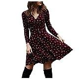 Fcostume Damen Boho Lange Kleider V-Ausschnitt Sommerkleider Langarm Wickelkleid Minikleid Strandkleid