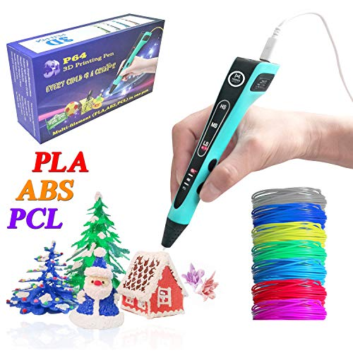 Multi-Filament(PLA,ABS,PCL) 3D Printing Pen w/ 1.75mm PLA Filament (14-Piece Set) Kids and Adults Drawing, Writing, Creating 3-D Arts and Crafts Projects | LED Display, Birthday Gift