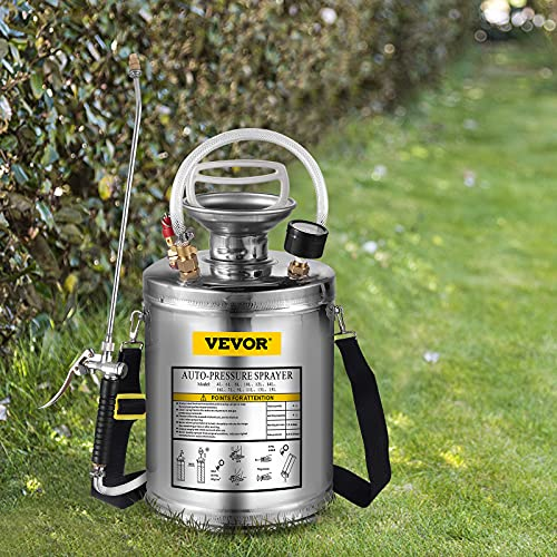 Happybuy 1Gal Stainless Steel, Set with 12'' Wand& Handle& 3FT Reinforced Hose, Hand Pump Sprayer with Pressure Gauge&Safety Valve, Adjustable Nozzle Suitable for Gardening and Sanitizing, Silver