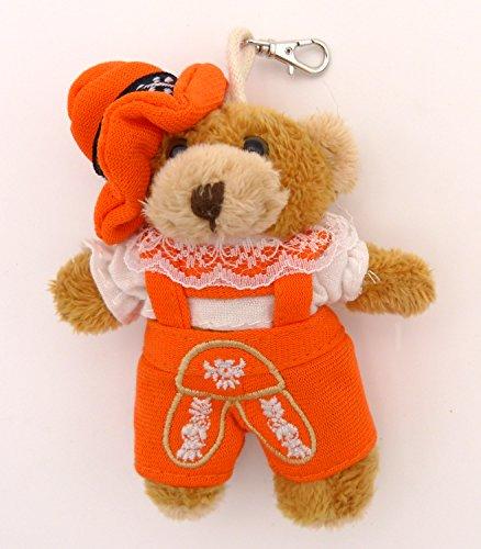 BOBBL Süßer Plüsch Dirndl Trachtenbär Schlüsselanhänger - Taschenanhänger - Lederhose orange - ca. 10,5 cm
