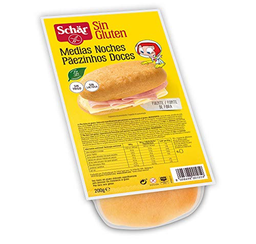 Dr. Schar - Medias Noches Pan Dulce sin Gluten- Paquete de 4 x 50 gr - Total: 200 gr