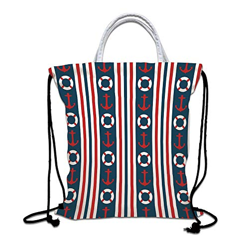 Nautical Drawstring Backpack,Vertical Borders Stripes Maritime Theme Steering Wheel and Anchor Pattern Decorative Lightweight Gym Sackpack Tote Bags for Gym Hiking Travel Beach,Indigo Red White