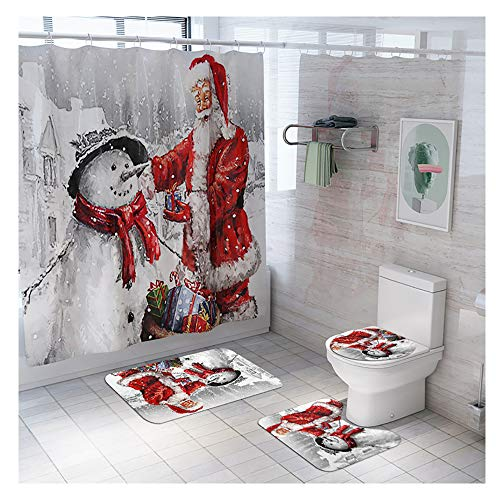 99AMZ Cortina de Ducha Conjunto de 4 Piezas con Ganchos Diseño de Santa Claus Arbol de Navidad Cortina de Baño + Tapete para Piso + Funda para Asiento de Inodoro + Juego de Almohadillas para Pies (A)