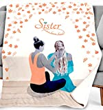 DORR Gift Sister Throw Blanket - Sisters Best Present Ideas for Birthday , Christmas , Valentines Day , Wedding & Graduation - Special Sister Blankets Gifts Throws - 280 GSM - Pinkish Orange (Pink)