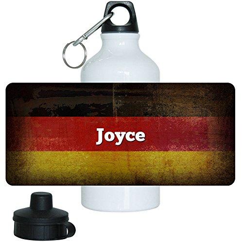 Trinkflasche mit Namen Joyce und schöner Deutschland Flagge, aus Aluminium