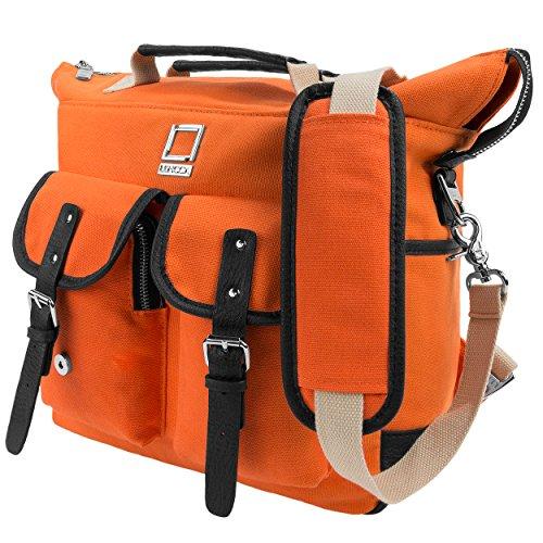 Lencca Mini Phlox Rucksack + Tragetasche + Schultertasche für Laptops bis zu 12,3 Zoll (31,2 cm) – Orange