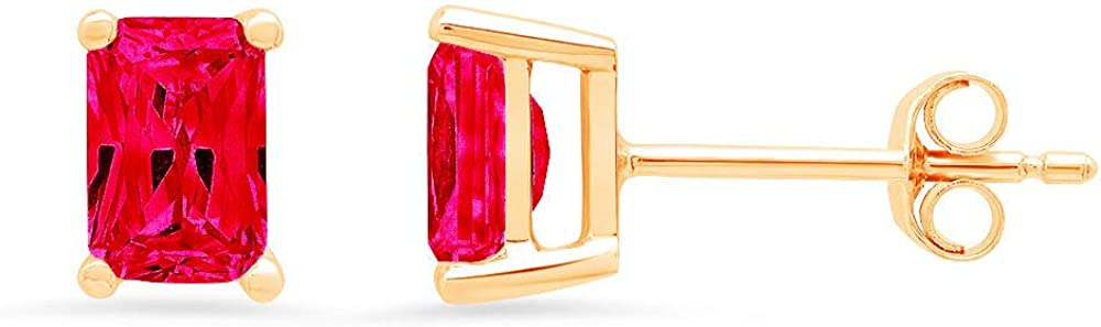 Clara Pucci 1.0 ct Brilliant Emerald Cut Solitaire VVS1 Flawless Simulated Ruby Gemstone Pair of Stud Earrings Solid 18K Yellow Gold Butterfly Push Back