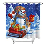 Acquerello Christmas Snowman Santa Sleigh Gift Tenda da doccia Set Arredo bagno