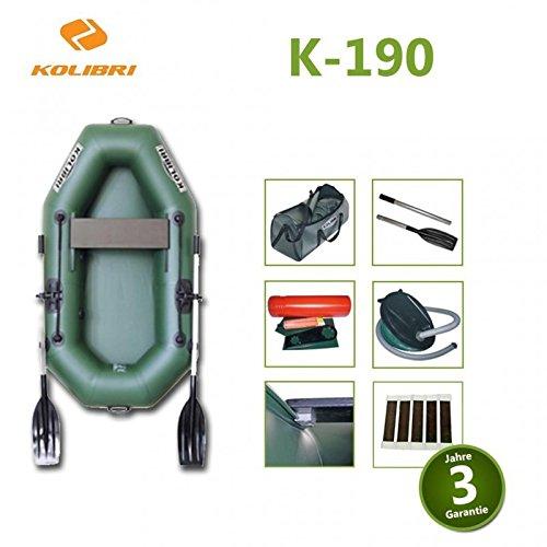 Schlauchboot, Angelboot, kolibri, Lattenrostboden, Doppelhub Fusspumpe, Praktische Tragetasche