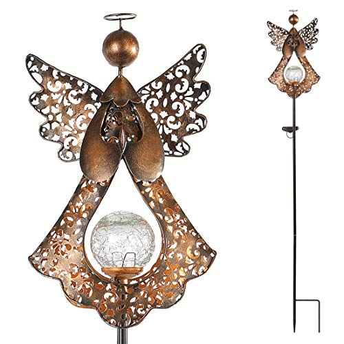 SFgift Solar Garden Stake Lights Outdoor Bronze Angel Crackle Glass Globe Stake Metal Lights Waterproof Warm White LED for Garden Lawn Patio or Courtyard