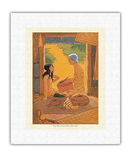 Pacifica Island Art - Lani y Mamo - Ex libris de Kimo, una Historia de Hawai - Ilustracion de Lucille Webster Holling c.1928 - Impresión en Lienzo - 28 x 36 cm