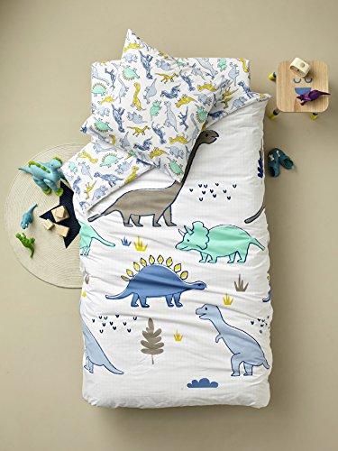 Vertbaudet Spannbettlaken für Kinder Dinoland weiß Bedruckt 90x200