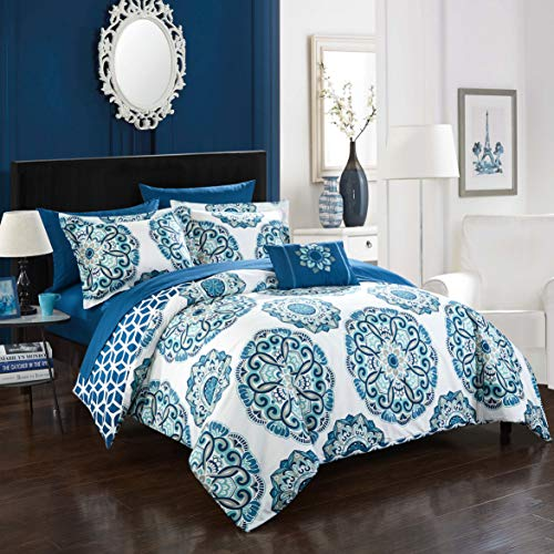 Twin 6pc Catalonia Bed In A Bag Comforter Set Blue - Chic Home Design