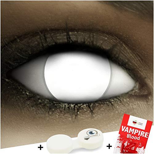 Farbige Kontaktlinsen ohne Stärke Blind White + Kunstblut Kapseln + Kontaktlinsenbehälter, weich ohne Sehstaerke in weiß, 1 Paar Linsen (2 Stück), ACHTUNG: Nur 60% Sehvermögen