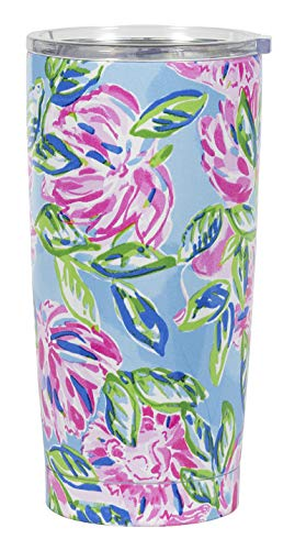Lilly Pulitzer 20 Ounce Insulated Tumbler with Lid, Pink/Blue/Green Stainless Steel Travel Cup, Totally Blossom