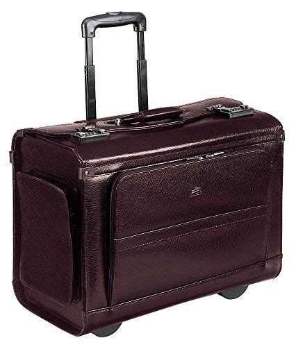 "Mancini 17"" Laptop Wheeled Catalog Case, Leather Business Case in Burgundy"