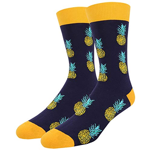 Zmart Men's Novelty Crazy Funny Pineapple Crew Socks, Cool Tropical Fruit Pattern
