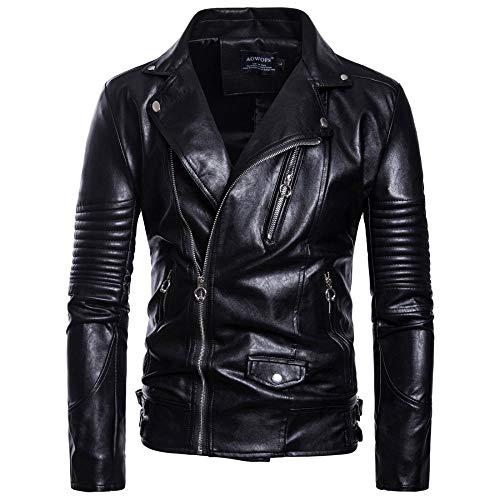 Preisvergleich Produktbild WEDGFG 2019 Herbst Neue Außenhandel Größe Herrenbekleidung Herren Motorrad Leder Herren Lederjacke Jacke B029-schwarz_3XL
