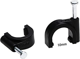 Mini Skater 10mm Diameter Circle Ethernet Nylon Wire Cable Clips Clamps with Steel Nail, 100pcs/Pack(10mm,Black)