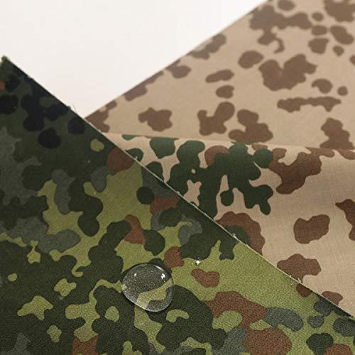 TOLKO Camouflage Stoff aus Baumwolle | Wasserdicht | Zelt- und Planen-Stoff Meterware | Robust und UV-beständig | im Armee Flecktarn der Bundeswehr | schwer 160cm breit (Bundeswehr Zelt Doppelseitig)