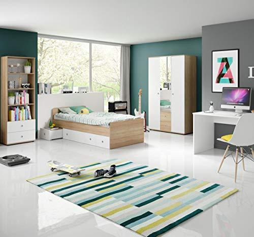 Jugendzimmer Wiggi Set 2 Eiche Sonoma Weiss 4tlg Kinderzimmer Jugendmöbel Set