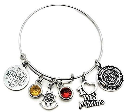 Kit's Kiss Marine Bracelet, USMC Bracelet, USMC Wife Bracelet, USMC Mom Bracelet, USMC Girlfriend Bracelet, USMC Sister Bracelet, I Love My Marine Bracelet, USMC Jewelry, Marine Bangle Bracelet