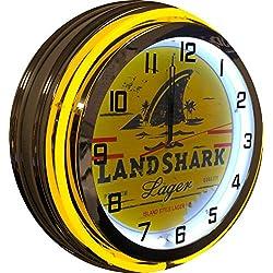 Landshark 19 Yellow Double Neon Chrome Clock
