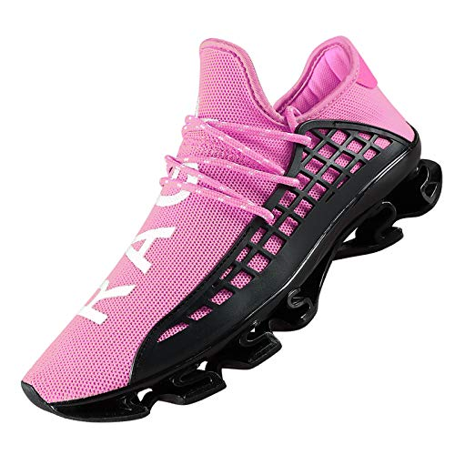 DUORO Men's Running Shoes Women's Casual Sneakers Breathable Mesh Slip on Blade Athletic Lightweight Tennis Sports Shoe for Men (Pink, Numeric_9_Point_5)