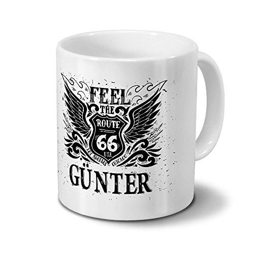 Tasse mit Namen Günter - Motiv Route 66 - Namenstasse, Kaffeebecher, Mug, Becher, Kaffeetasse - Farbe Weiß