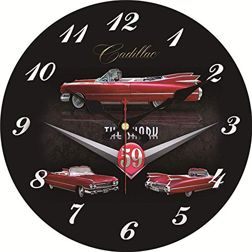 Wall Clock,Sports Race Car Style Wooden Cardboard Wall Clock,Silent Non-Ticking For Kitchen Office-40cm