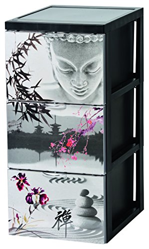 Iris Ohyama, Design Schubladenschrank auf Rollen - Style Chest Flat SCF-303 - plastik, theme Japan, 3 x 15 L, L39 x B29 x H61,5 cm